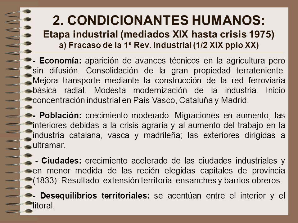 2. CONDICIONANTES HUMANOS: Etapa industrial (mediados XIX hasta crisis 1975) a) Fracaso de la 1ª Rev. Industrial (1/2 XIX ppio XX) - Economía: aparici