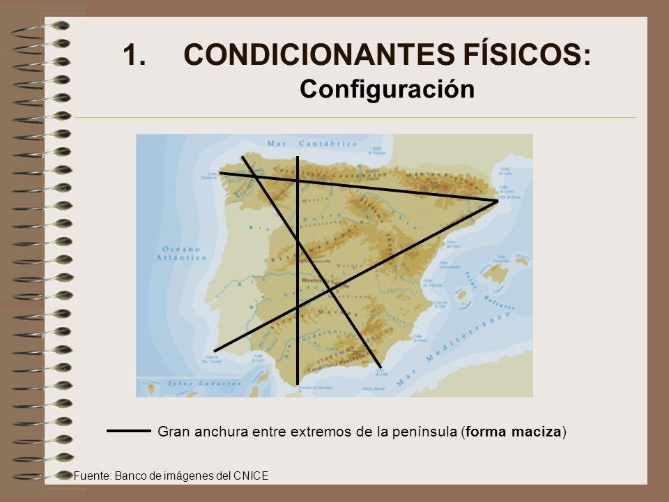 1.CONDICIONANTES FÍSICOS: Configuración En el siguiente mapa se puede observar la elevada altitud del relieve penisnsular, donde una gran parte de la misma se localiza por encima de los 800 metros de altitud.