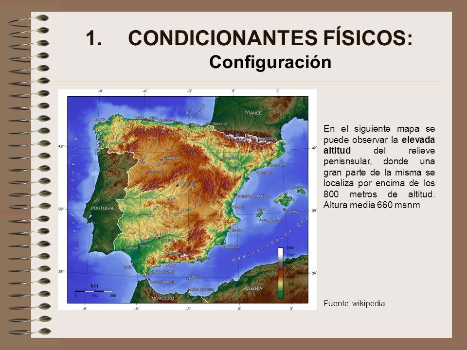 1.CONDICIONANTES FÍSICOS: Configuración En el siguiente mapa se puede observar la elevada altitud del relieve penisnsular, donde una gran parte de la