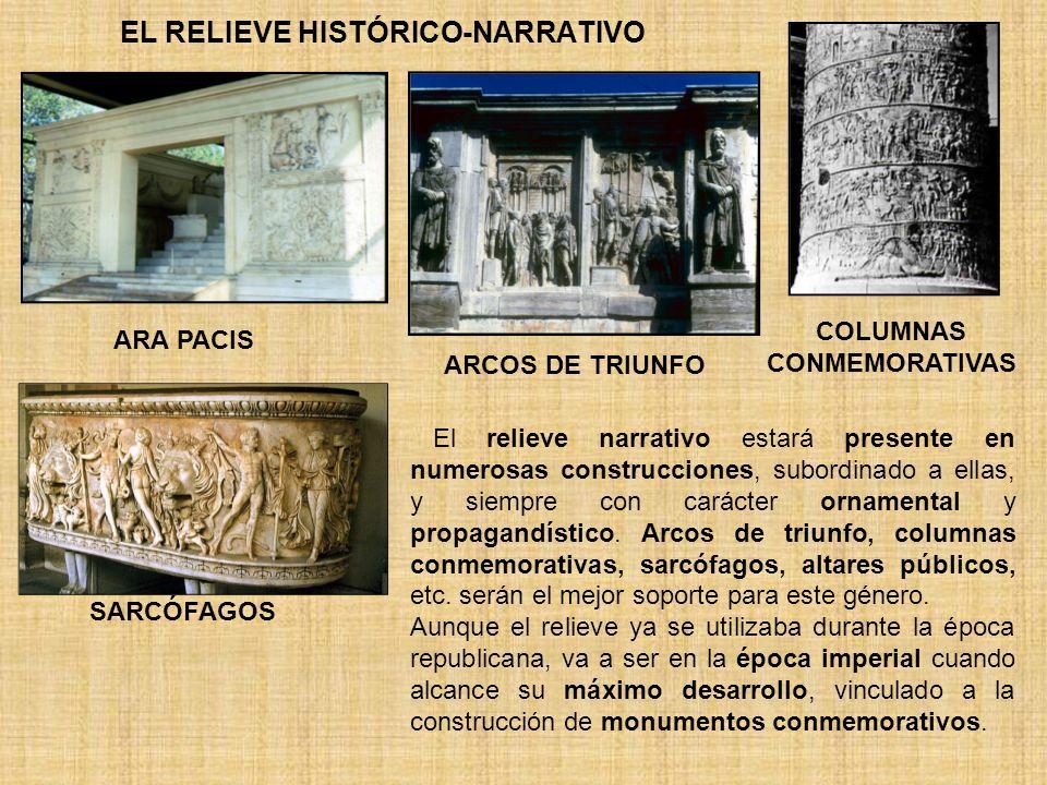 EL RELIEVE HISTÓRICO-NARRATIVO ARA PACIS SARCÓFAGOS ARCOS DE TRIUNFO COLUMNAS CONMEMORATIVAS El relieve narrativo estará presente en numerosas constru