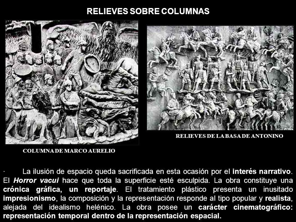 RELIEVES SOBRE COLUMNAS COLUMNA DE MARCO AURELIO RELIEVES DE LA BASA DE ANTONINO · La ilusión de espacio queda sacrificada en esta ocasión por el inte