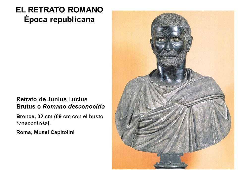 Retrato de Junius Lucius Brutus o Romano desconocido Bronce, 32 cm (69 cm con el busto renacentista). Roma, Musei Capitolini