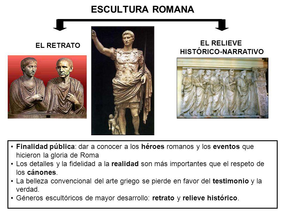ESCULTURA ROMANA EL RETRATO EL RELIEVE HISTÓRICO-NARRATIVO Finalidad pública: dar a conocer a los héroes romanos y los eventos que hicieron la gloria