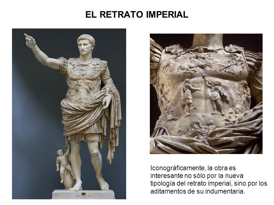 Iconográficamente, la obra es interesante no sólo por la nueva tipología del retrato imperial, sino por los aditamentos de su indumentaria. EL RETRATO