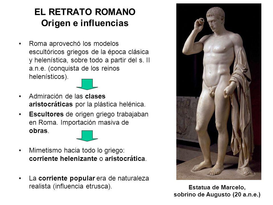 Roma aprovechó los modelos escultóricos griegos de la época clásica y helenística, sobre todo a partir del s. II a.n.e. (conquista de los reinos helen