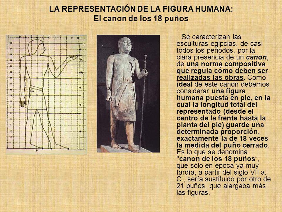 LA REPRESENTACIÓN DE LA FIGURA HUMANA: El canon de los 18 puños Se caracterizan las esculturas egipcias, de casi todos los periodos, por la clara pres