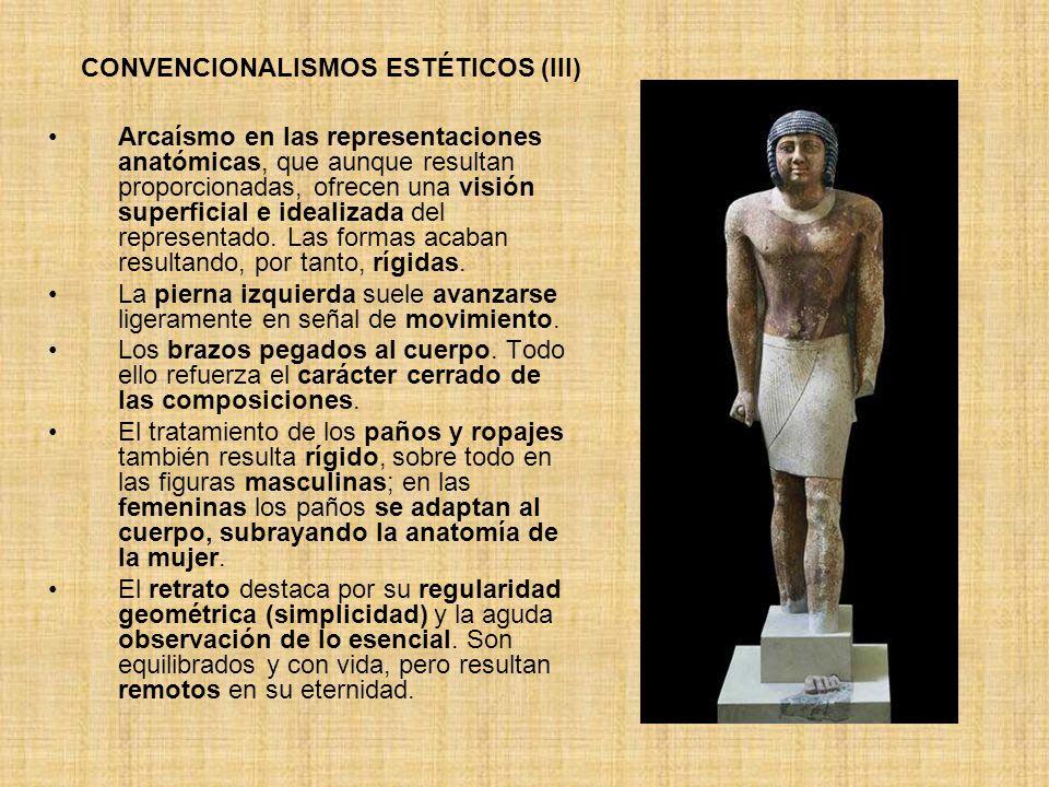 Arcaísmo en las representaciones anatómicas, que aunque resultan proporcionadas, ofrecen una visión superficial e idealizada del representado. Las for