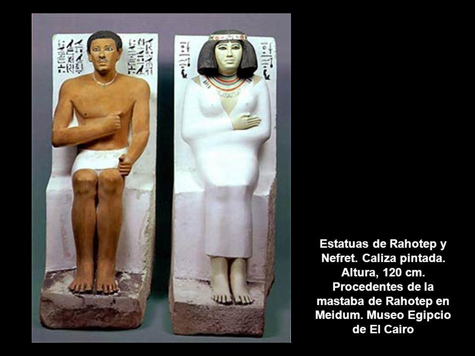 Estatuas de Rahotep y Nefret. Caliza pintada. Altura, 120 cm. Procedentes de la mastaba de Rahotep en Meidum. Museo Egipcio de El Cairo