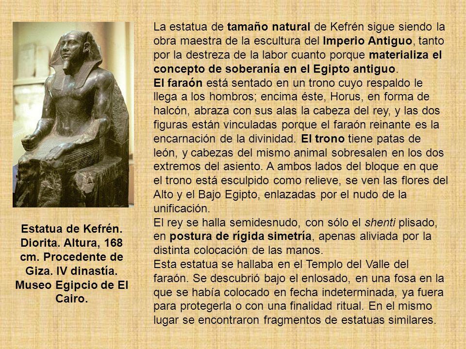 La estatua de tamaño natural de Kefrén sigue siendo la obra maestra de la escultura del Imperio Antiguo, tanto por la destreza de la labor cuanto porq
