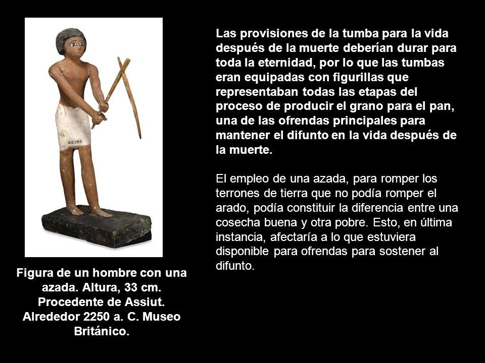 Figura de un hombre con una azada. Altura, 33 cm. Procedente de Assiut. Alrededor 2250 a. C. Museo Británico. Las provisiones de la tumba para la vida
