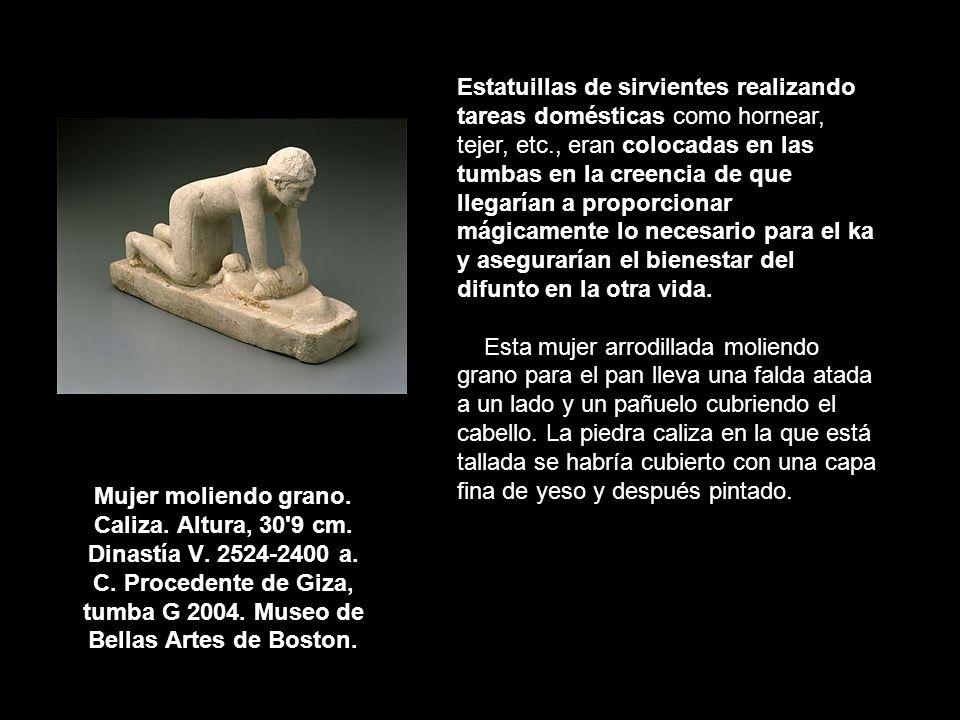 Mujer moliendo grano. Caliza. Altura, 30'9 cm. Dinastía V. 2524-2400 a. C. Procedente de Giza, tumba G 2004. Museo de Bellas Artes de Boston. Estatuil
