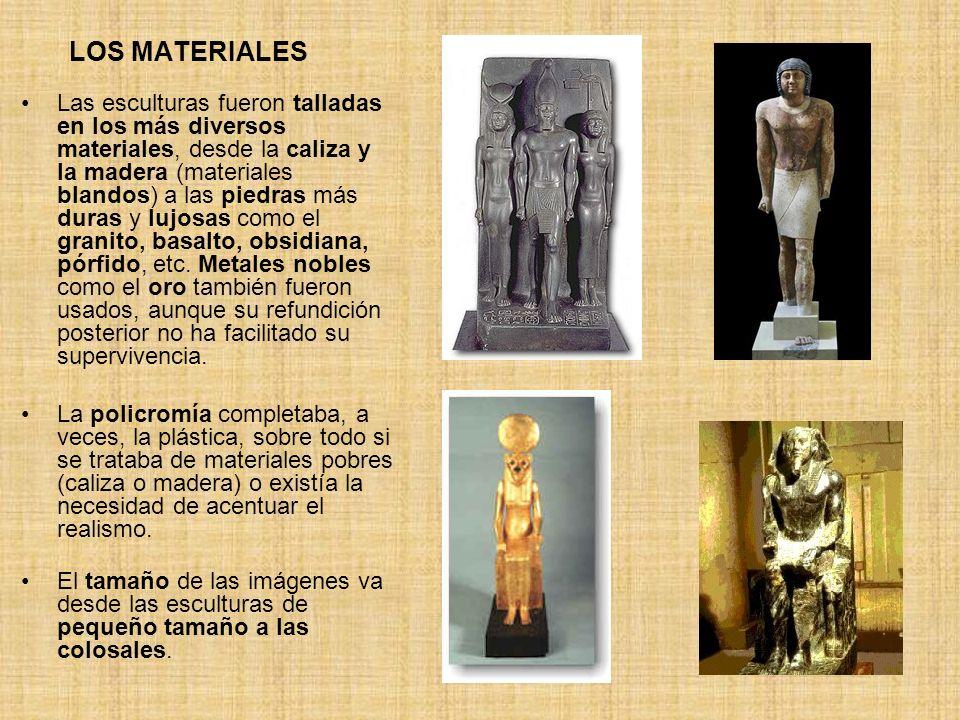 LOS MATERIALES Las esculturas fueron talladas en los más diversos materiales, desde la caliza y la madera (materiales blandos) a las piedras más duras
