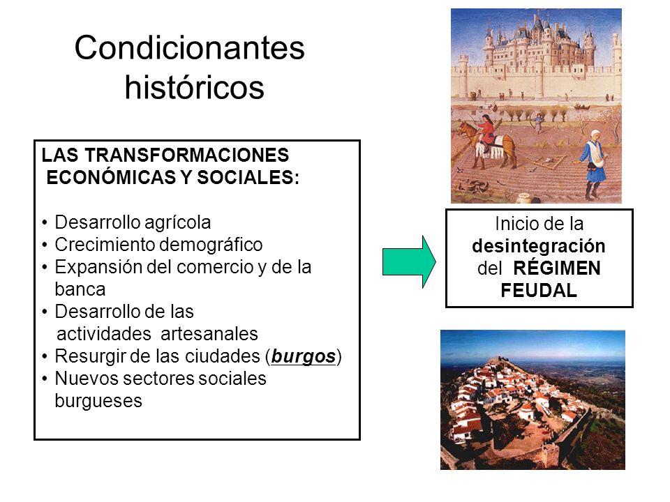 Condicionantes históricos LAS TRANSFORMACIONES ECONÓMICAS Y SOCIALES: Desarrollo agrícola Crecimiento demográfico Expansión del comercio y de la banca