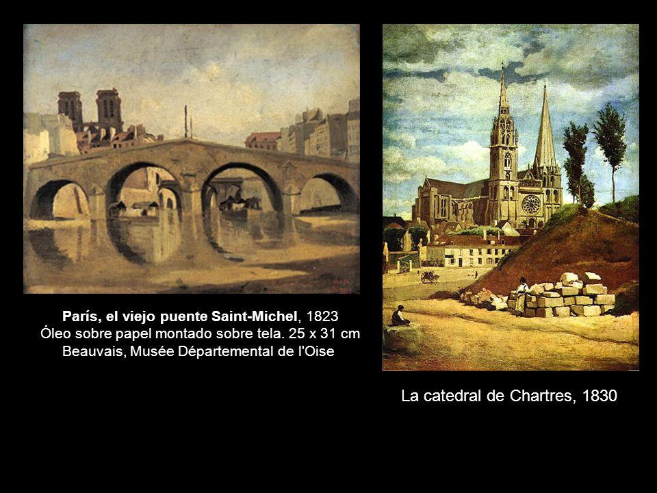 París, el viejo puente Saint-Michel, 1823 Óleo sobre papel montado sobre tela.