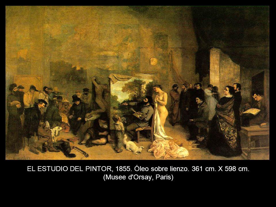 EL ESTUDIO DEL PINTOR, 1855. Óleo sobre lienzo. 361 cm. X 598 cm. (Musee d Orsay, Paris)