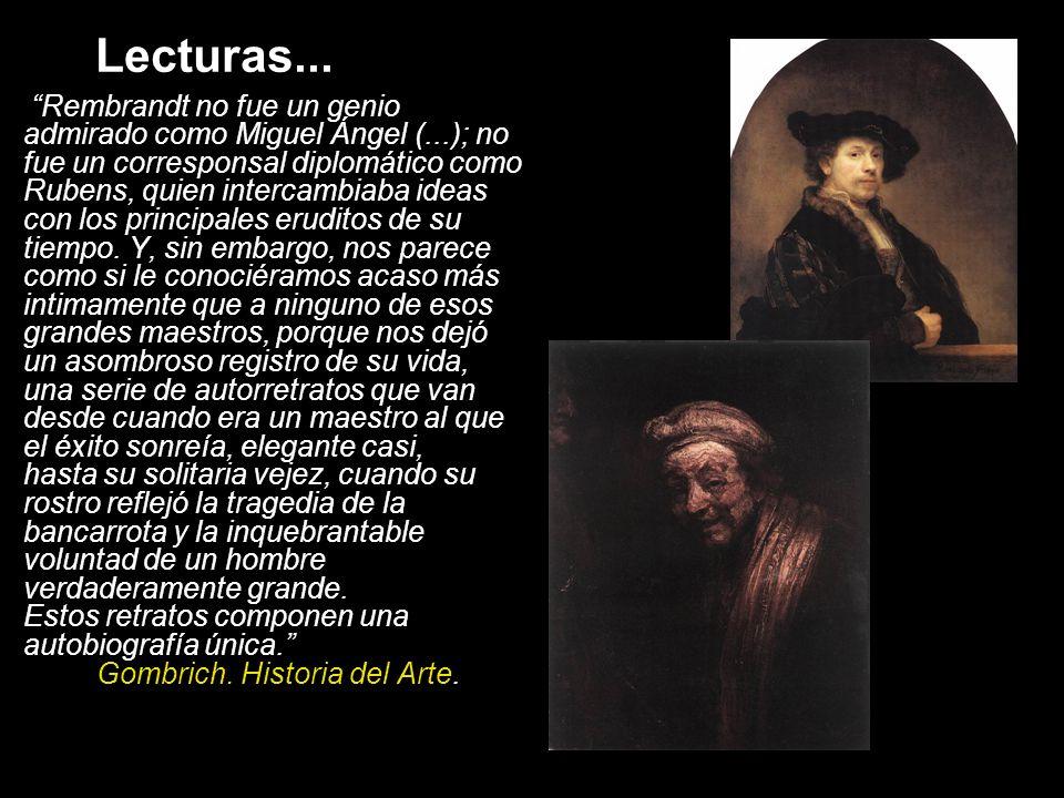 Los géneros abordados por Rembrandt Los retratos de grupo (doelenstueck -retratos de las milicias cívicas- y los regentstueck -de las corporaciones civiles): el retrato individual y su relación con el grupo.