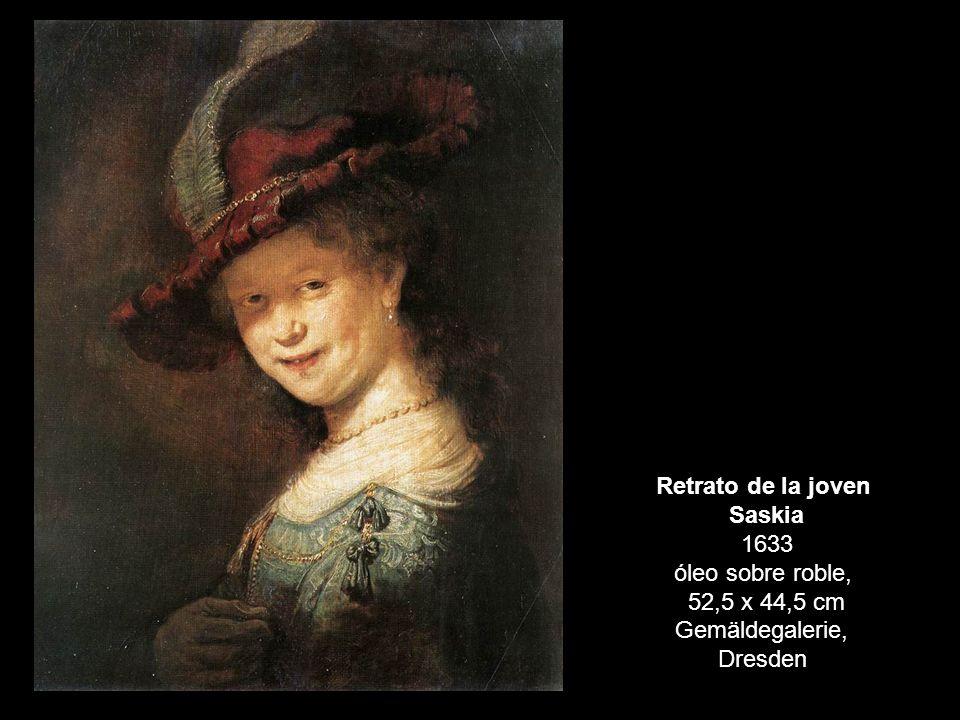 Retrato de la joven Saskia 1633 óleo sobre roble, 52,5 x 44,5 cm Gemäldegalerie, Dresden
