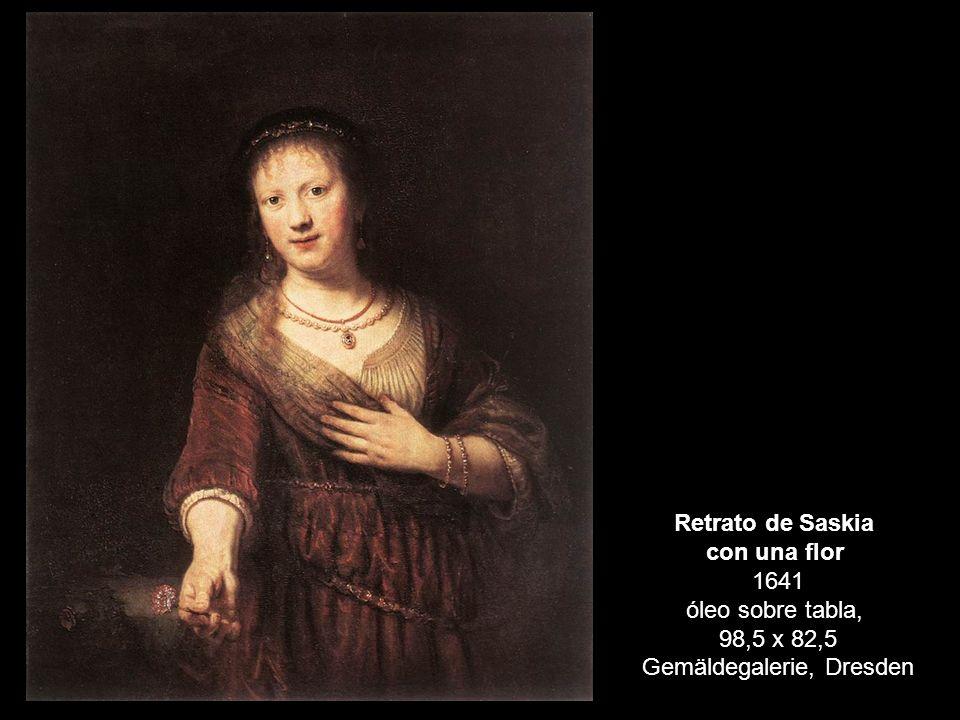 Retrato de Saskia con una flor 1641 óleo sobre tabla, 98,5 x 82,5 Gemäldegalerie, Dresden