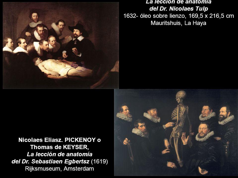 La lección de anatomía del Dr. Nicolaes Tulp 1632- óleo sobre lienzo, 169,5 x 216,5 cm Mauritshuis, La Haya Nicolaes Eliasz. PICKENOY o Thomas de KEYS
