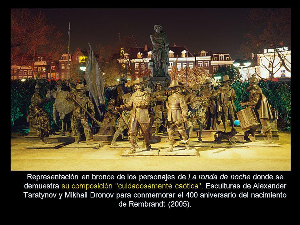 Representación en bronce de los personajes de La ronda de noche donde se demuestra su composición