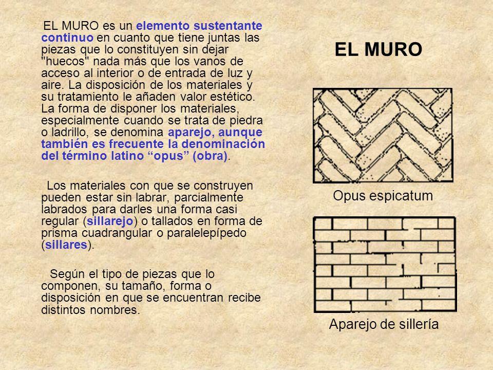 EL MURO EL MURO es un elemento sustentante continuo en cuanto que tiene juntas las piezas que lo constituyen sin dejar