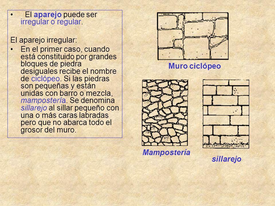 El aparejo puede ser irregular o regular. El aparejo irregular: En el primer caso, cuando está constituido por grandes bloques de piedra desiguales re