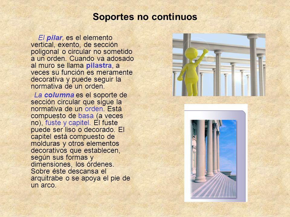 Soportes no continuos El pilar, es el elemento vertical, exento, de sección poligonal o circular no sometido a un orden. Cuando va adosado al muro se