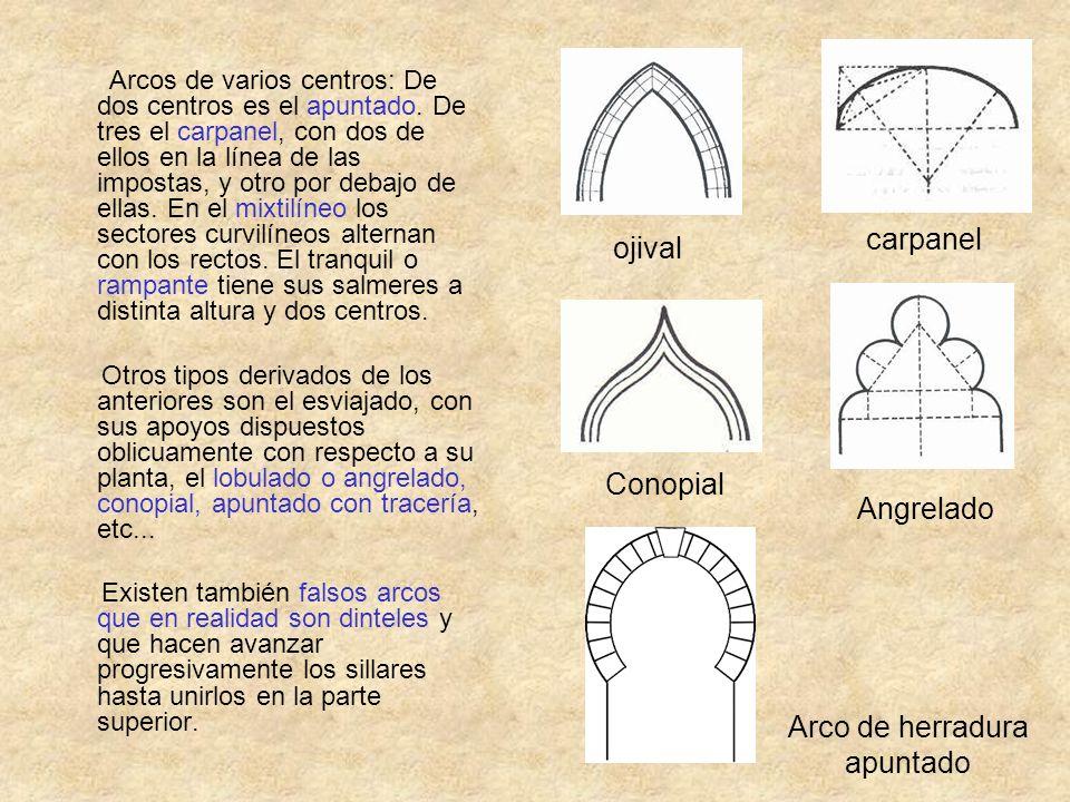 Arcos de varios centros: De dos centros es el apuntado. De tres el carpanel, con dos de ellos en la línea de las impostas, y otro por debajo de ellas.