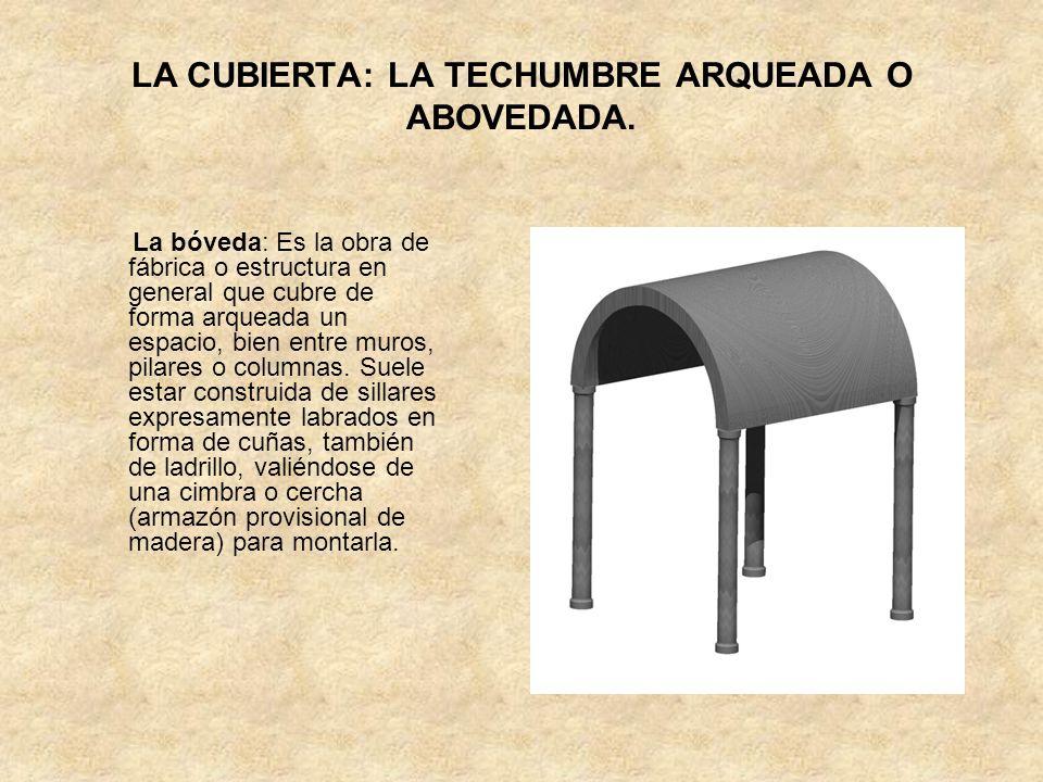 LA CUBIERTA: LA TECHUMBRE ARQUEADA O ABOVEDADA. La bóveda: Es la obra de fábrica o estructura en general que cubre de forma arqueada un espacio, bien