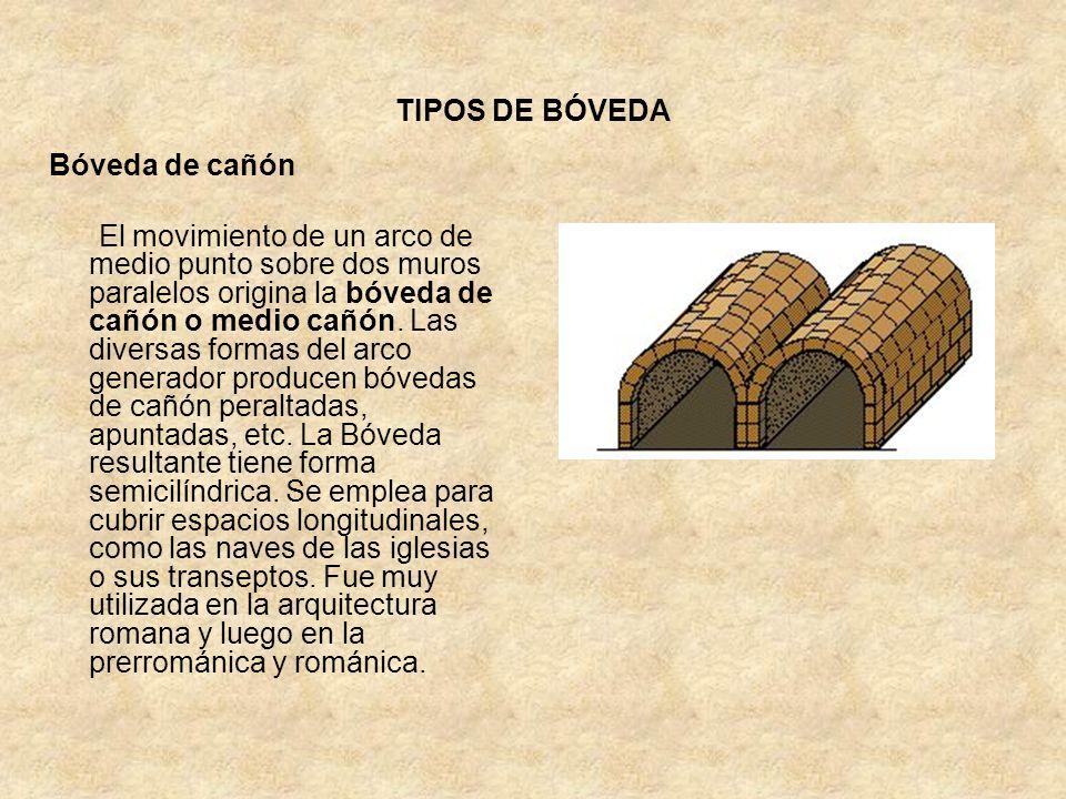 TIPOS DE BÓVEDA Bóveda de cañón El movimiento de un arco de medio punto sobre dos muros paralelos origina la bóveda de cañón o medio cañón. Las divers