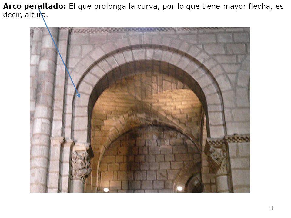 Arco peraltado: El que prolonga la curva, por lo que tiene mayor flecha, es decir, altura. 11