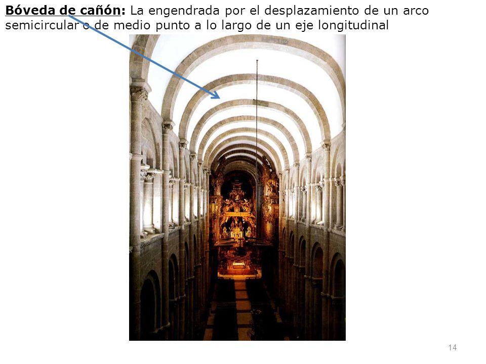 Bóveda de cañón: La engendrada por el desplazamiento de un arco semicircular o de medio punto a lo largo de un eje longitudinal 14