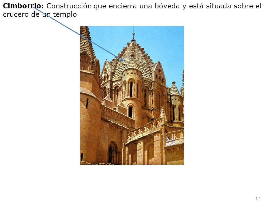 Cimborrio: Construcción que encierra una bóveda y está situada sobre el crucero de un templo 17