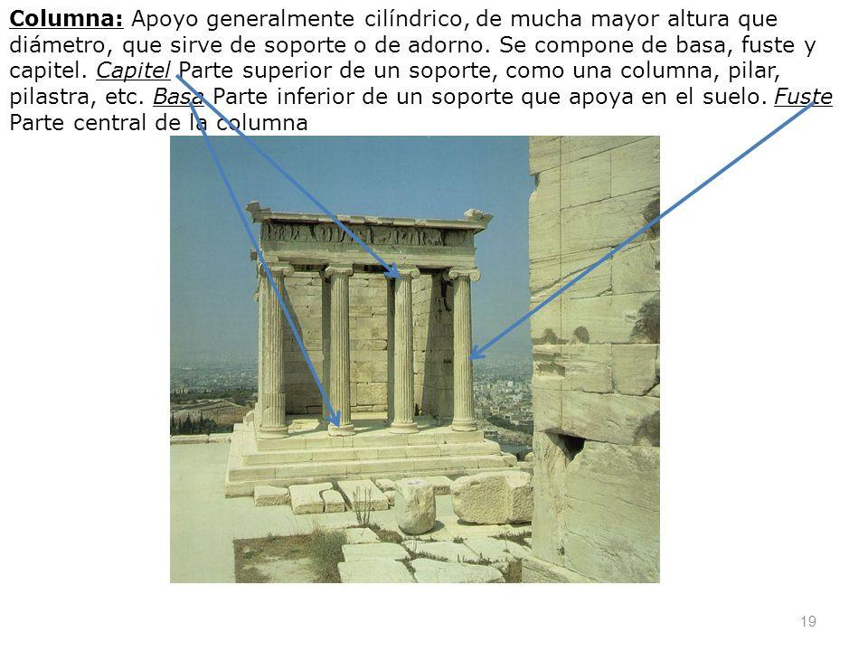 19 Columna: Apoyo generalmente cilíndrico, de mucha mayor altura que diámetro, que sirve de soporte o de adorno. Se compone de basa, fuste y capitel.