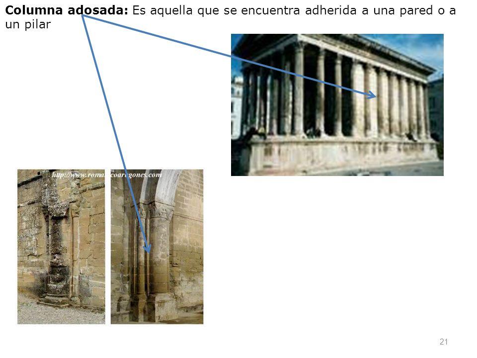 21 Columna adosada: Es aquella que se encuentra adherida a una pared o a un pilar