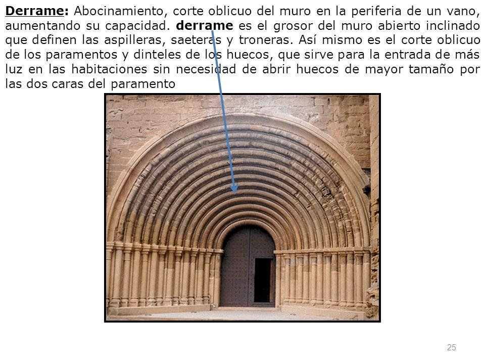 25 Derrame: Abocinamiento, corte oblicuo del muro en la periferia de un vano, aumentando su capacidad. derrame es el grosor del muro abierto inclinado