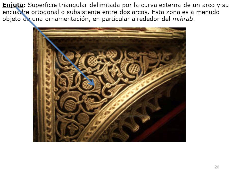 26 Enjuta: Superficie triangular delimitada por la curva externa de un arco y su encuadre ortogonal o subsistente entre dos arcos. Esta zona es a menu