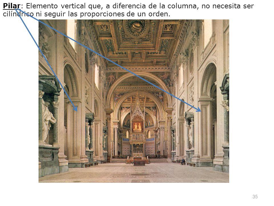 35 Pilar: Elemento vertical que, a diferencia de la columna, no necesita ser cilíndrico ni seguir las proporciones de un orden.