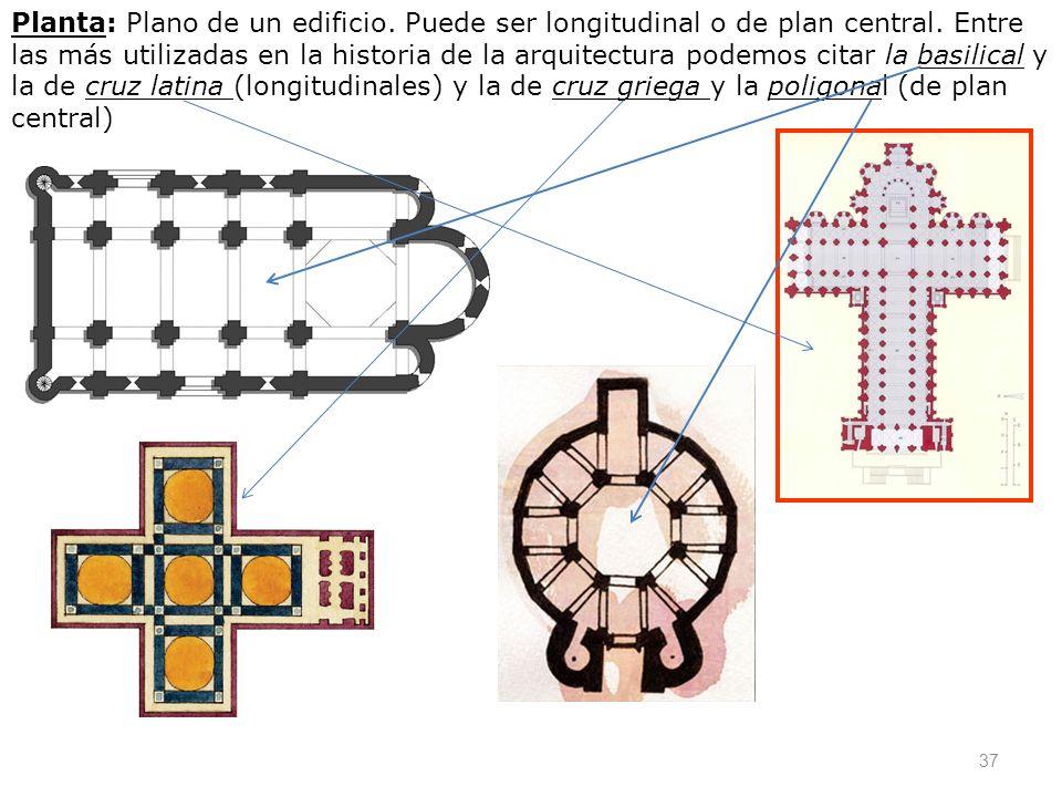 37 Planta: Plano de un edificio. Puede ser longitudinal o de plan central. Entre las más utilizadas en la historia de la arquitectura podemos citar la