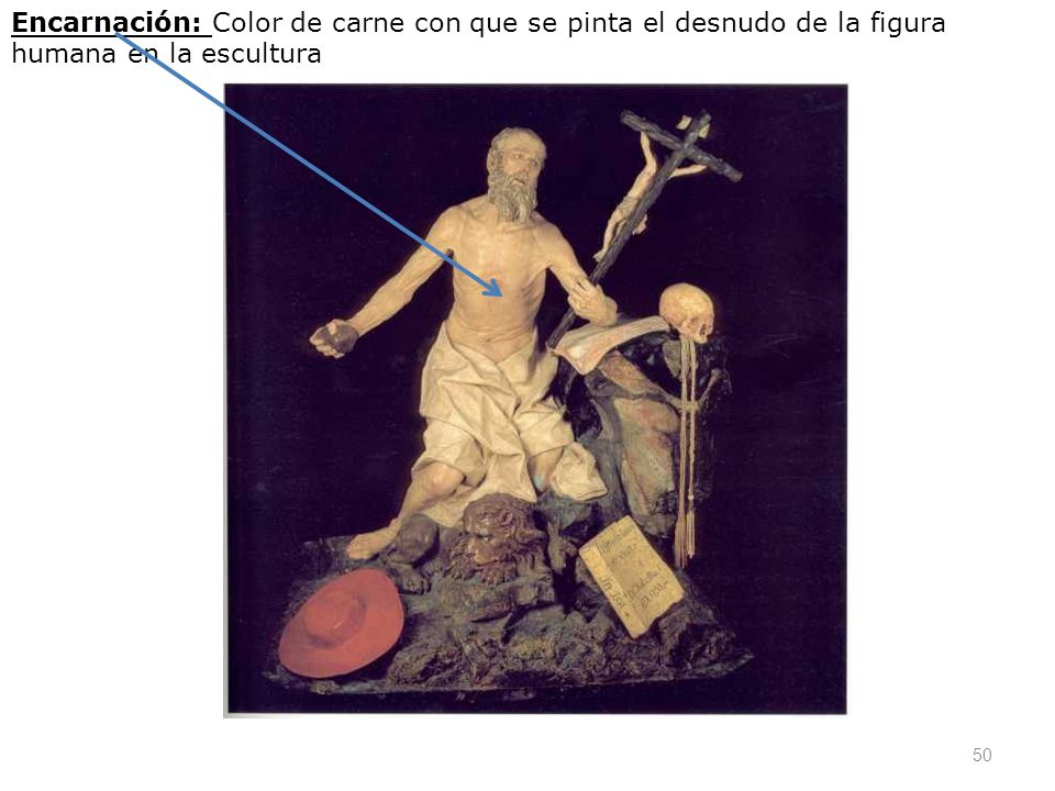 50 Encarnación: Color de carne con que se pinta el desnudo de la figura humana en la escultura