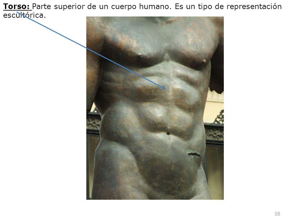 58 Torso: Parte superior de un cuerpo humano. Es un tipo de representación escultórica.