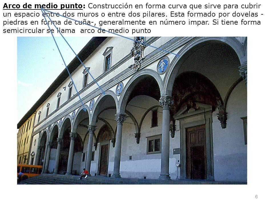 Arco de medio punto: Construcción en forma curva que sirve para cubrir un espacio entre dos muros o entre dos pilares. Esta formado por dovelas - pied