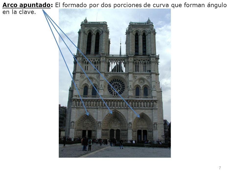 Arco apuntado: El formado por dos porciones de curva que forman ángulo en la clave. 7