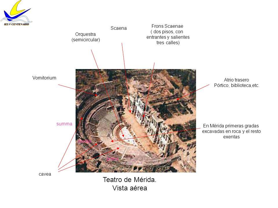 Teatro de Mérida. Vista aérea Scaena Frons Scaenae ( dos pisos, con entrantes y salientes tres calles) Orquestra (semicircular) cavea Vomitorium prima