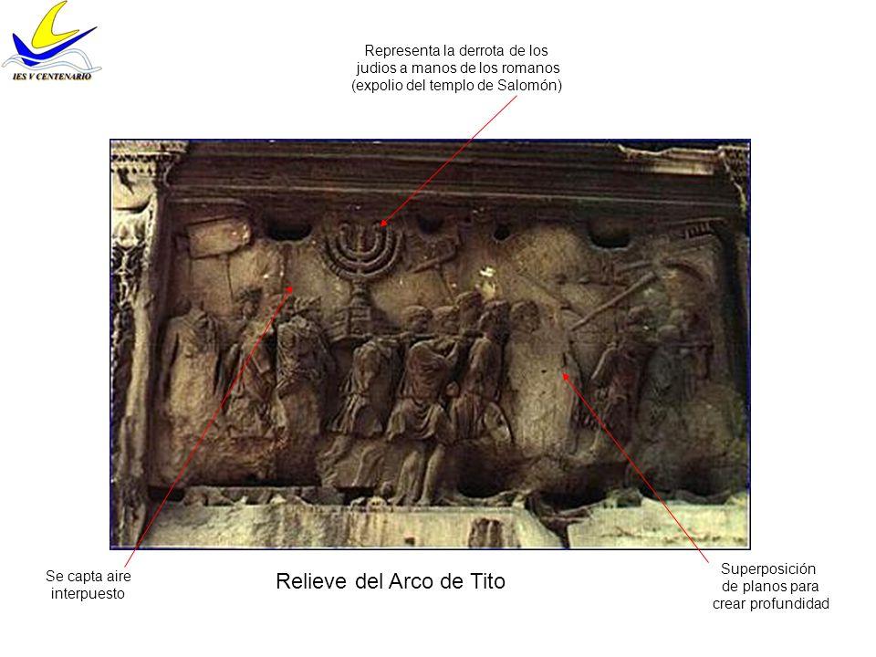 Relieve del Arco de Tito Superposición de planos para crear profundidad Se capta aire interpuesto Representa la derrota de los judios a manos de los r