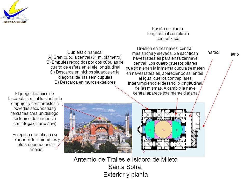 Muros cortinas Cúpula sobre pechinas Antemio de Tralles e Isidoro de Mileto Santa Sofía.