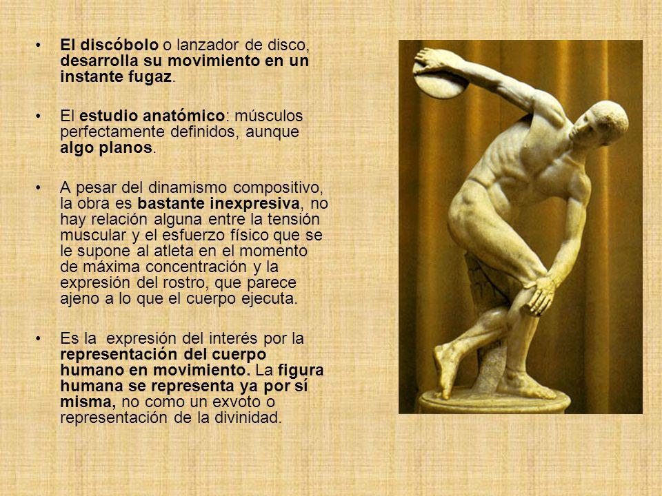El discóbolo o lanzador de disco, desarrolla su movimiento en un instante fugaz. El estudio anatómico: músculos perfectamente definidos, aunque algo p