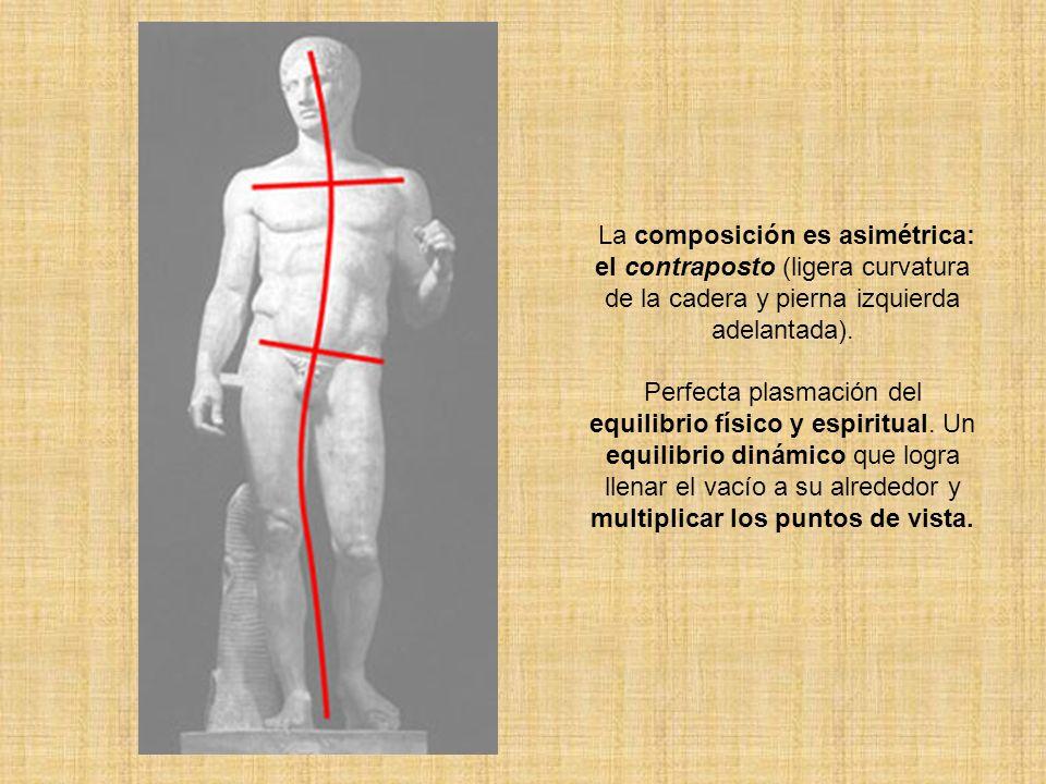La composición es asimétrica: el contraposto (ligera curvatura de la cadera y pierna izquierda adelantada). Perfecta plasmación del equilibrio físico