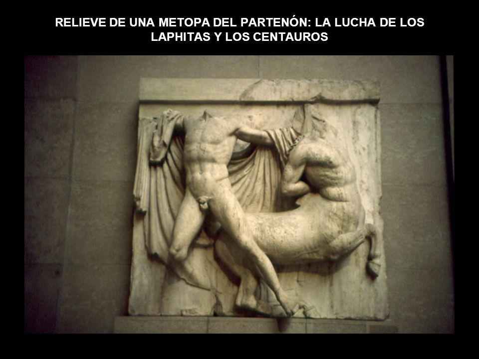 RELIEVE DE UNA METOPA DEL PARTENÓN: LA LUCHA DE LOS LAPHITAS Y LOS CENTAUROS
