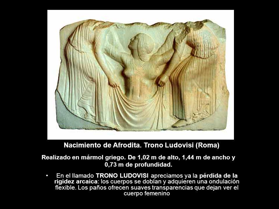 En el llamado TRONO LUDOVISI apreciamos ya la pérdida de la rigidez arcaica: los cuerpos se doblan y adquieren una ondulación flexible. Los paños ofre